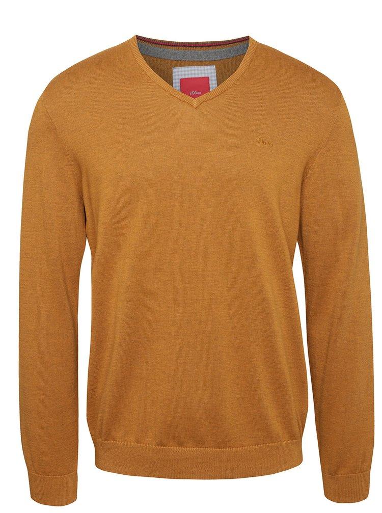 Hnedý pánsky sveter s.Oliver
