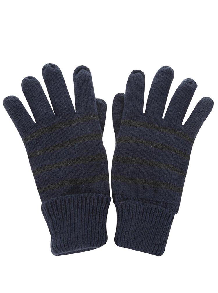 Tmavomodré pruhované rukavice Blend