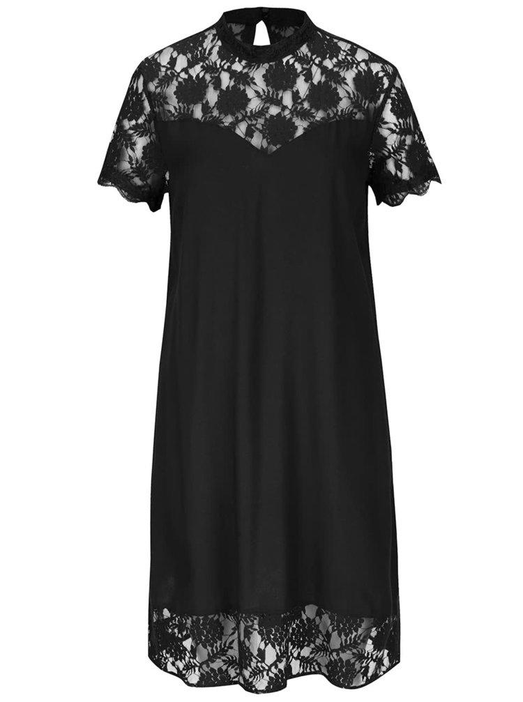 Rochie neagră VILA Tiya cu detalii din dantelă
