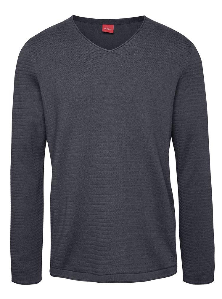 Modrý pánsky sveter s véčkovým výstrihom s.Oliver