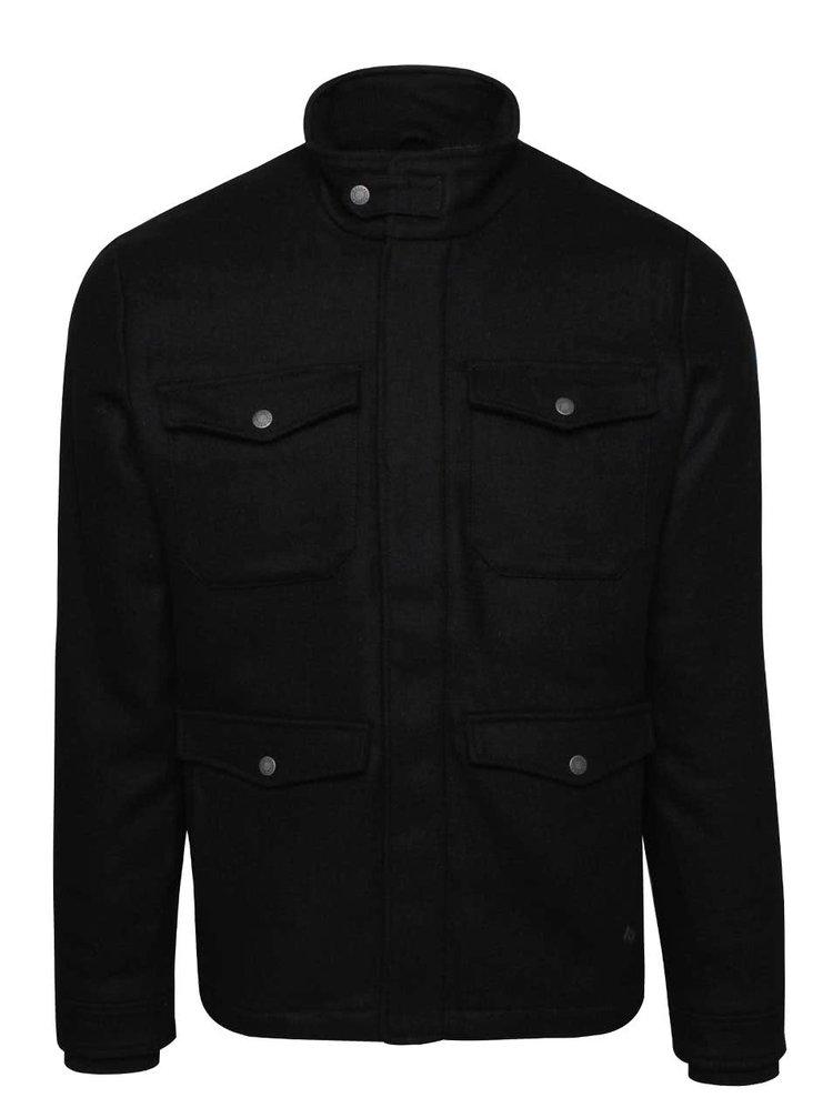 Čierna pánska vlnená bunda Casual Friday