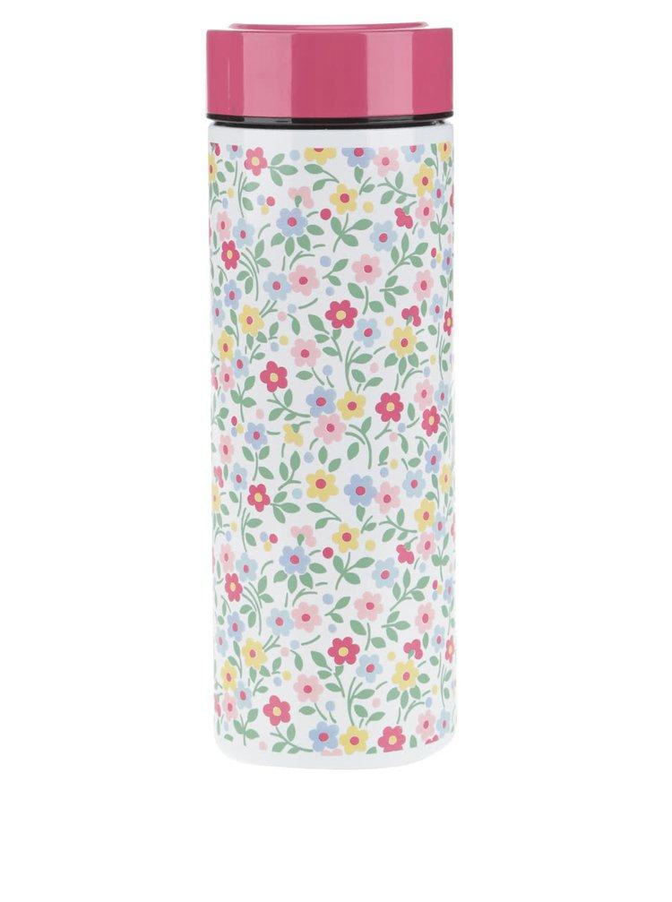 Bílá květovaná termoska s růžovým víčkem Cath Kidston
