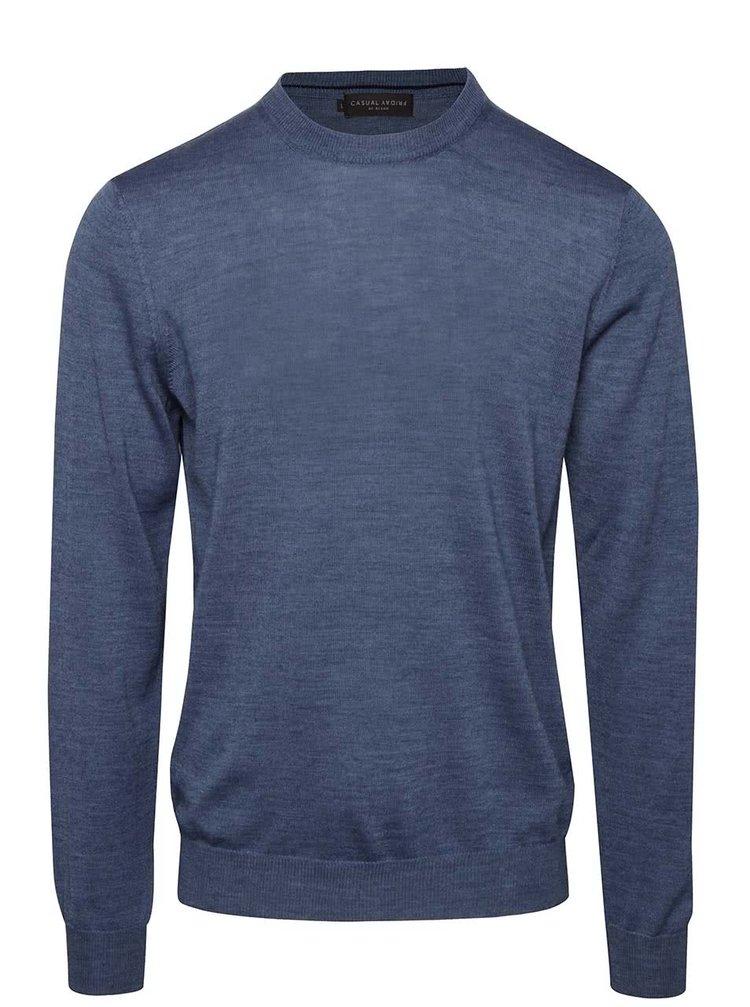 Modrý pánsky vlnený sveter Casual Friday