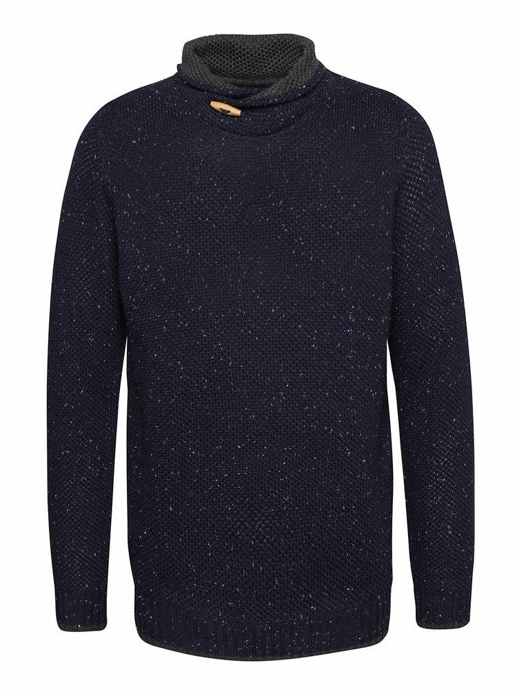 Tmavomodrý sveter s drobným vzorom Blend