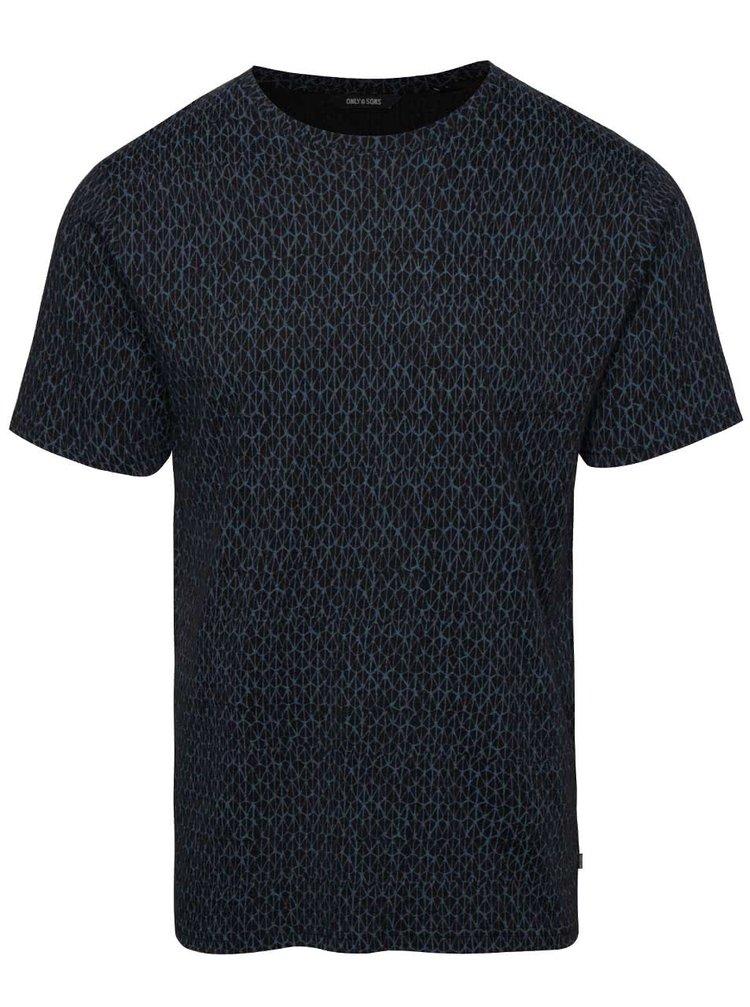 Čierne vzorované tričko ONLY & SONS Ancher