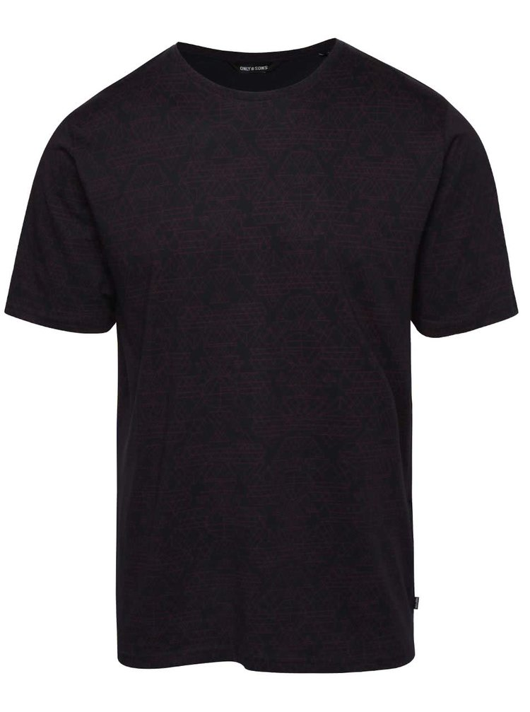 Tmavomodré vzorované tričko ONLY & SONS Ancher