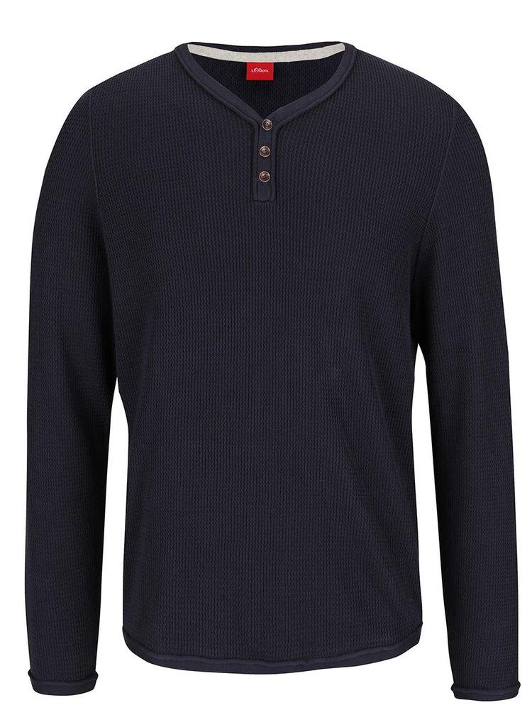 Tmavomodrý pánsky sveter s gombíkmi s.Oliver