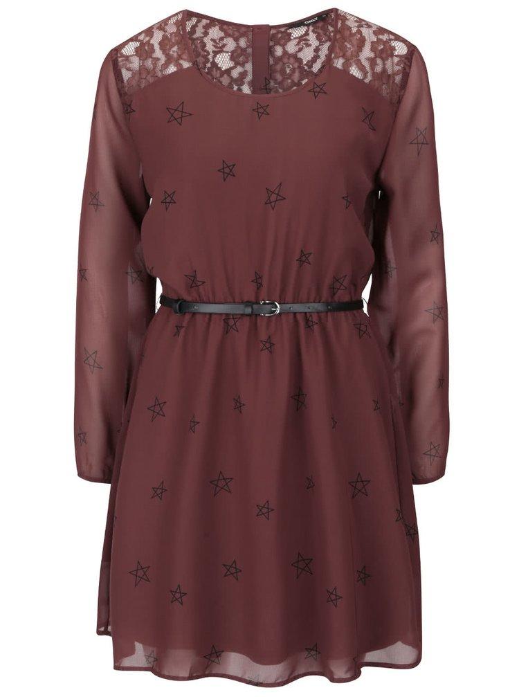 Vínovo-hnedé šaty s opaskom a dlhými rukávmi ONLY Stella