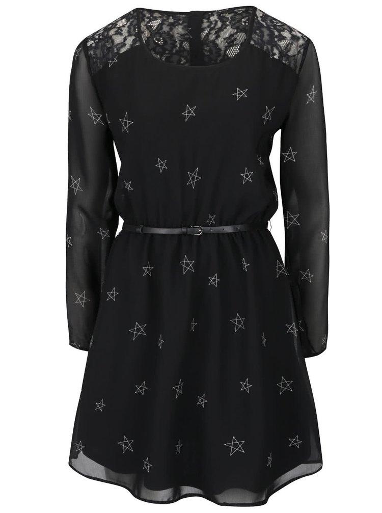Rochie neagră ONLY Stella cu print