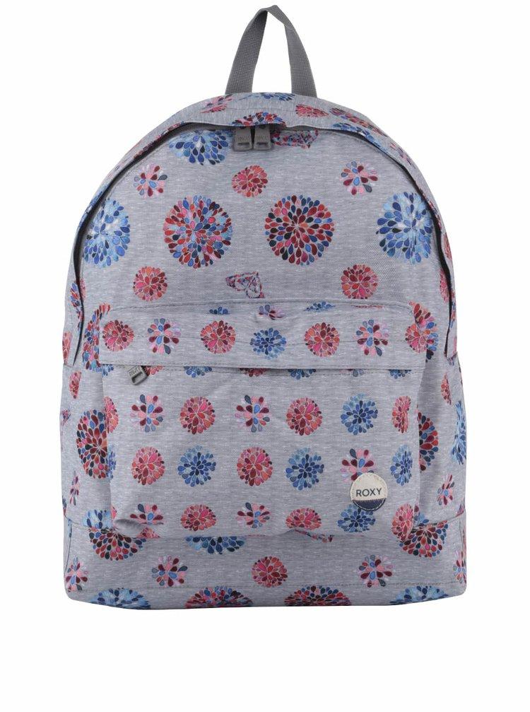 Šedý batoh s potiskem květin Roxy Be