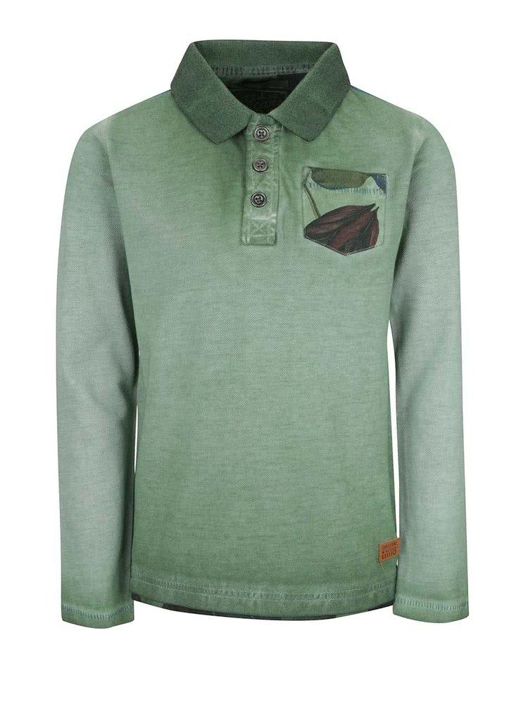 Zelené klučičí polo triko s dlouhým rukávem Cars Jeans Azzone