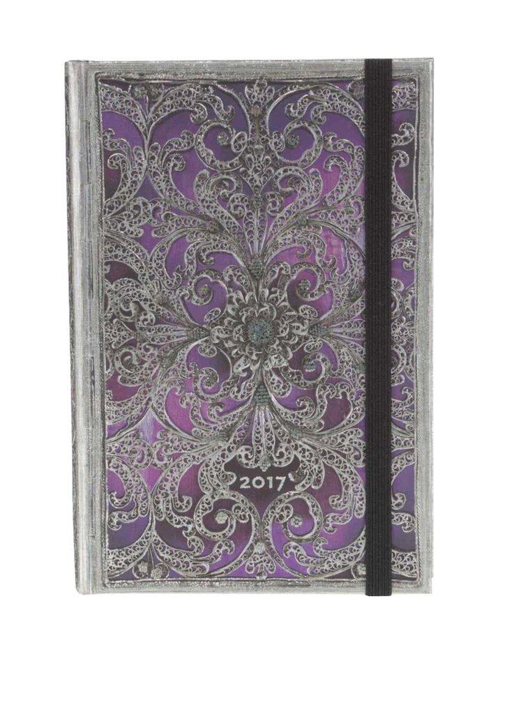 Strieborno-fialový diár na rok 2017 Paperblanks Aubergine Mini