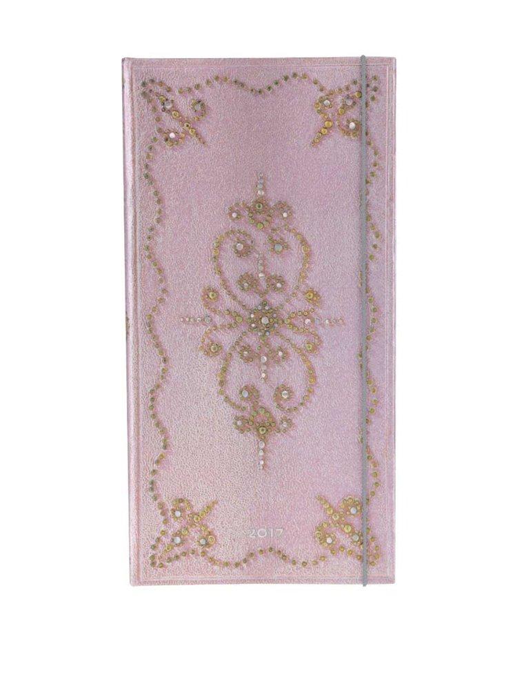 Zlato-ružový diár na rok 2017 Paperblanks Cotton Candy Slim