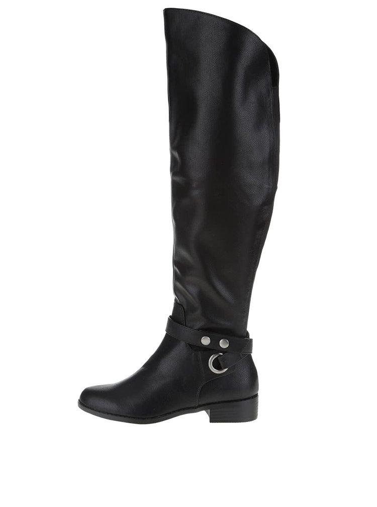 Čierne vysoké koženkové čižmy ALDO Biverone