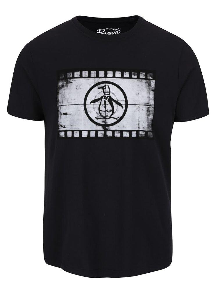 Tricou negru Original Penguin Film Reel cu print