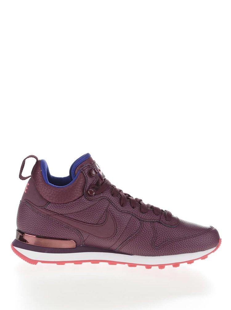 e2af8b089bbc8 ... vínové kožené dámske členkové tenisky Nike Internationalist Mid Leather