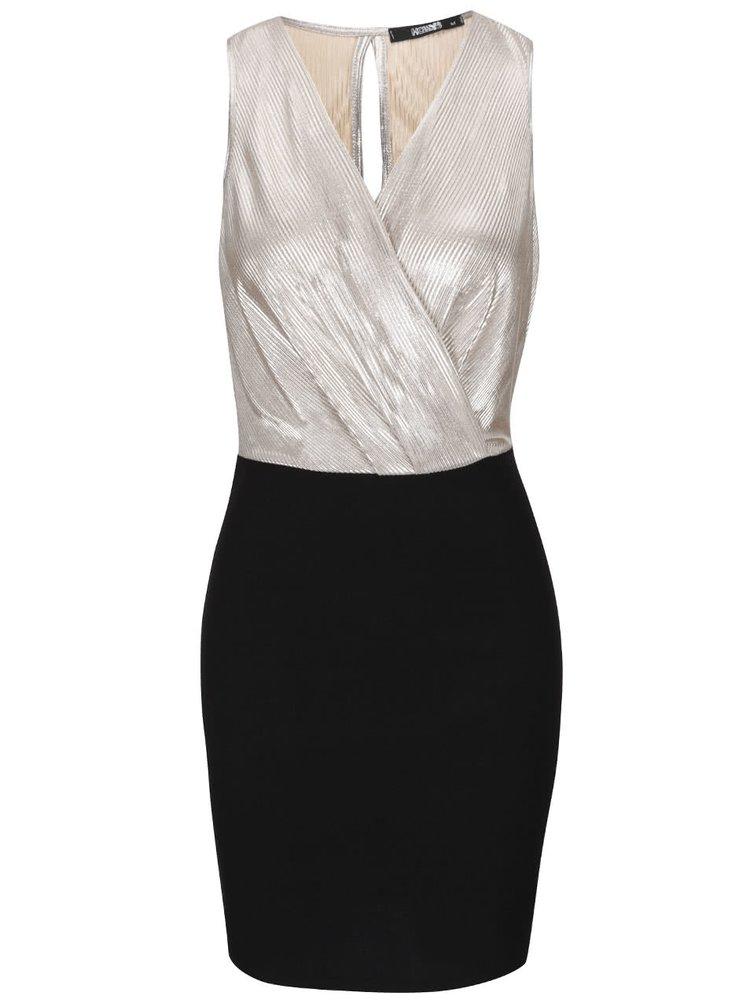 Černé šaty s krémovým překládaným topem Haily´s Shirley