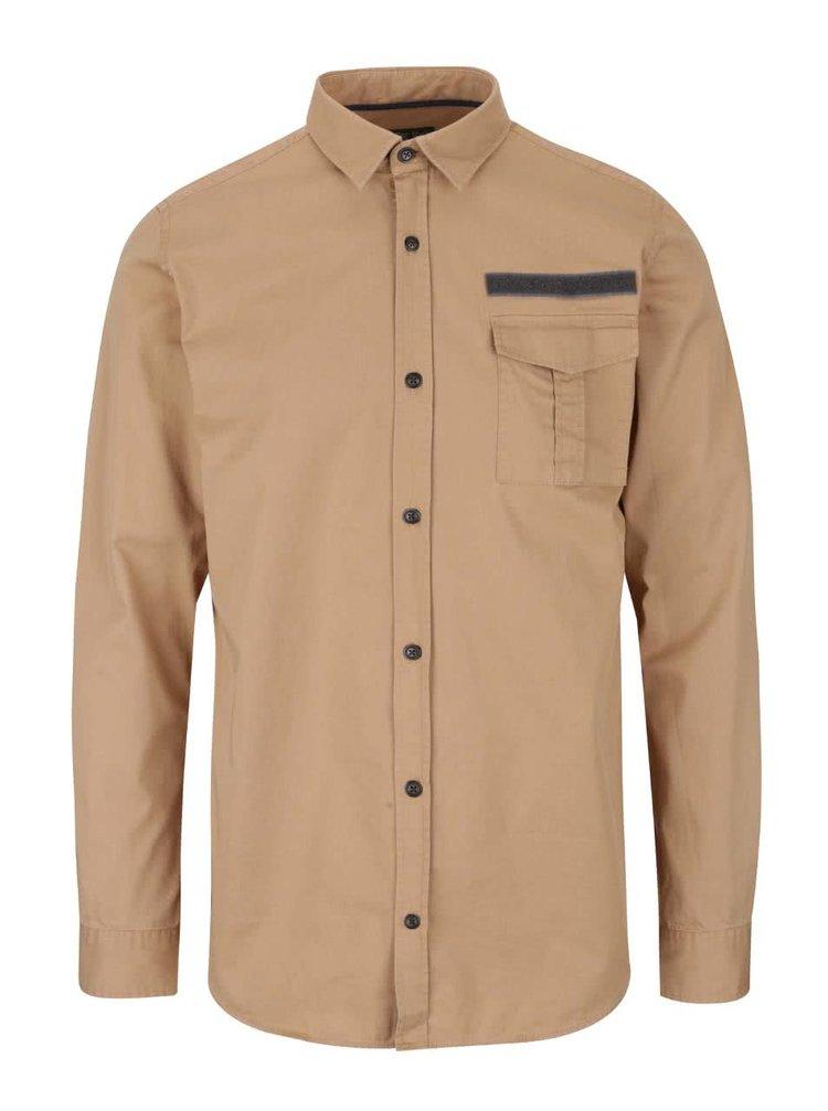 Béžová košeľa s náprsným vreckom Jack & Jones Land