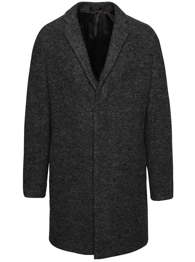Tmavosivý kabát s prímesou vlny Selected Homme Brook Boucle
