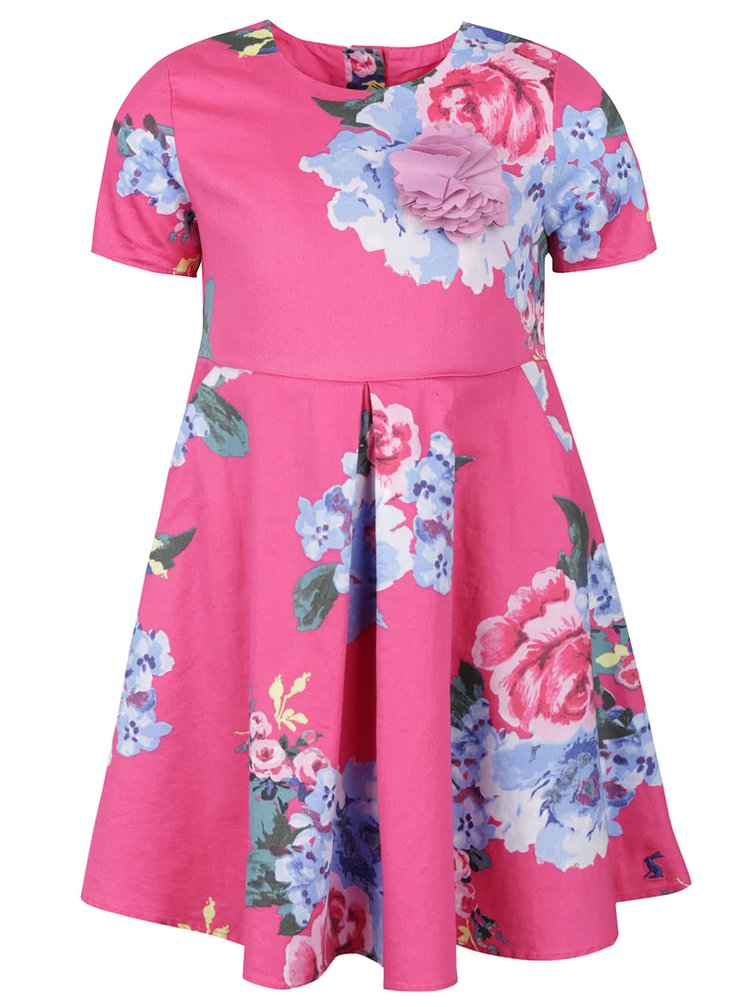 Rochie roz Tom Joule Constance cu model înflorat pentru fete