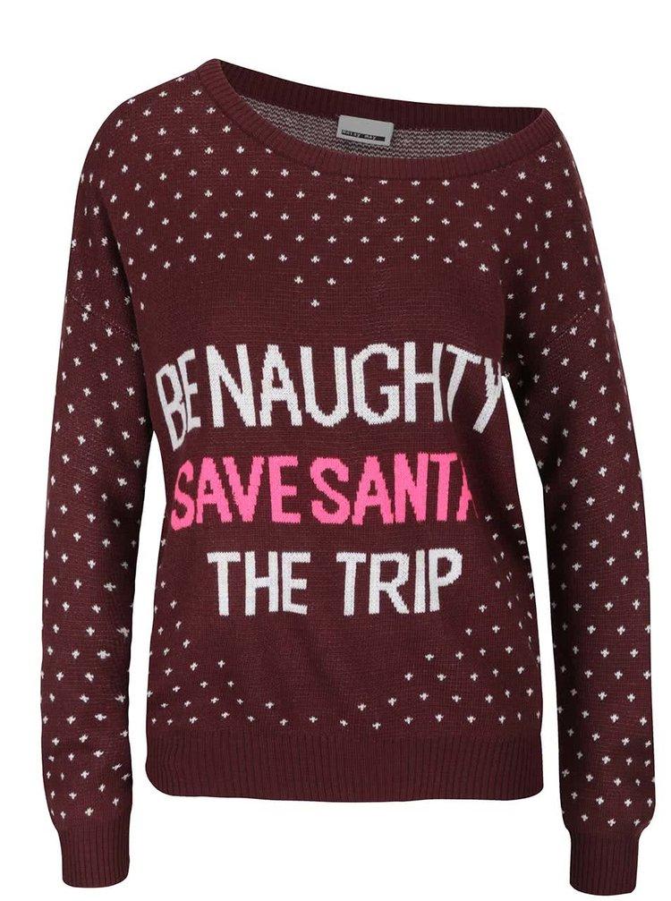 Vínový vzorovaný svetr s nápisem Noisy May Santa