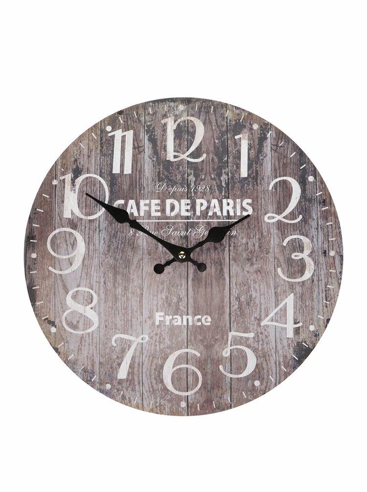 Hnedé drevené hodiny s nápisom Dakls