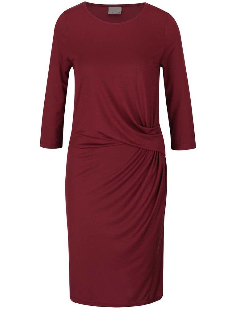 Vínové šaty s 3/4 rukávom VERO MODA Monica