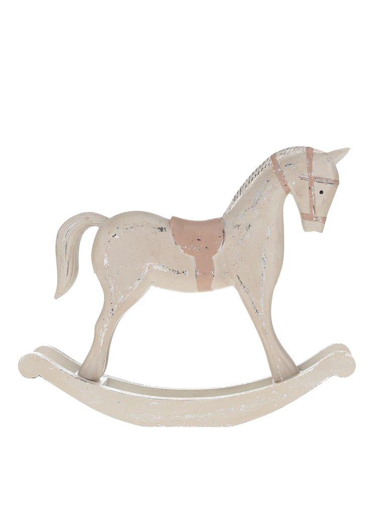Hnědý velký vintage dřevěný houpací koník Dakls