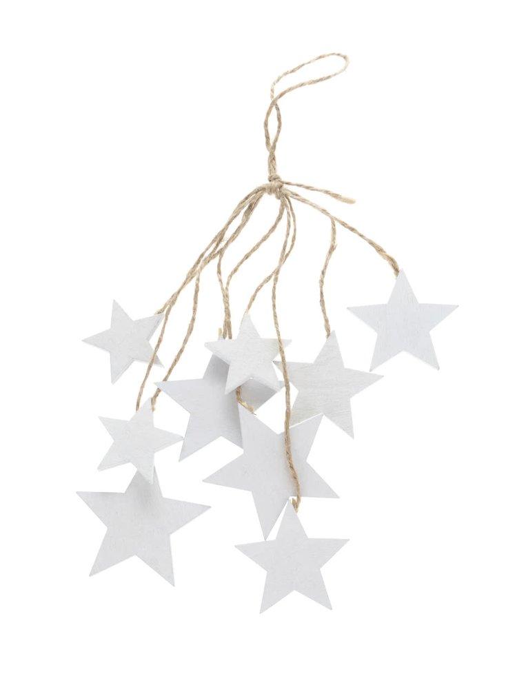 Krémová dřevěná závěsná dekorace svazek hvězd Dakls