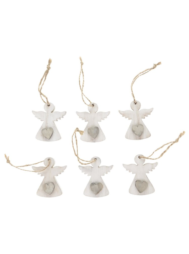 Sada šesti krémových dřevěných andělů Dakls