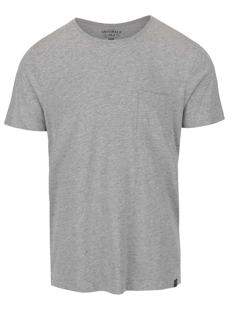 Světle šedé triko s kapsou Jack & Jones Ari