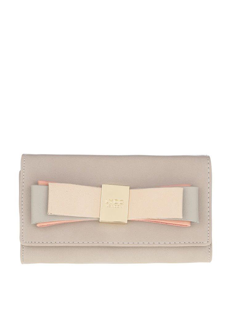 Béžová peněženka s mašlí a detailem ve zlaté barvě LYDC
