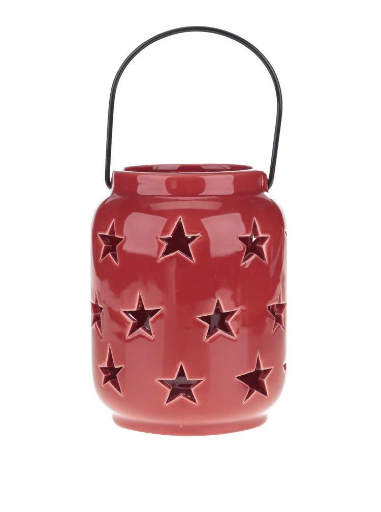 Suport de lumânare Dakls roșu din porțelan