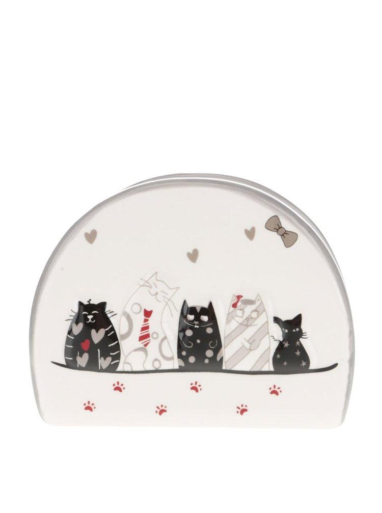 Krémový keramický držák na ubrousky s motivem koček Dakls