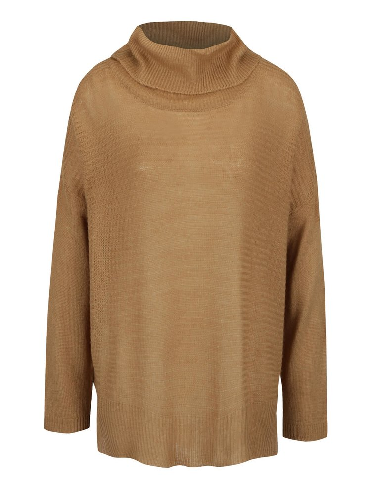 Béžový volnější svetr s rolákem b.young