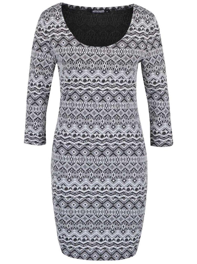 Krémovo-černé vzorované šaty s 3/4 rukávem Haily´s Pearl