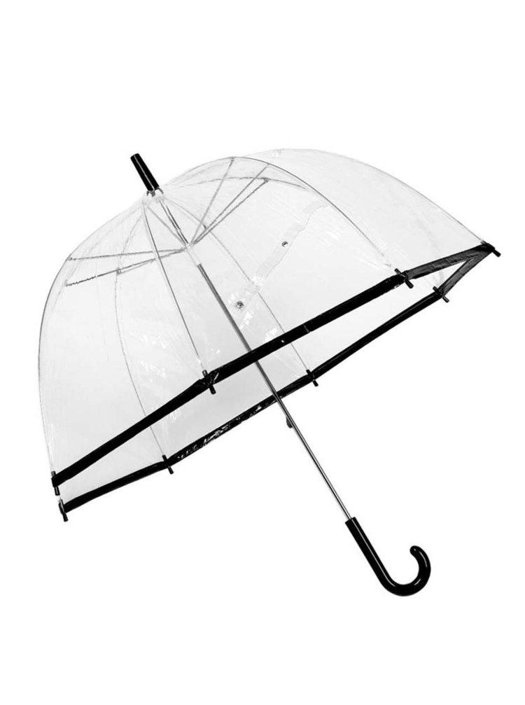 Priehľadný dáždnik s čiernym okrajom Lindy Lou SlimTrim