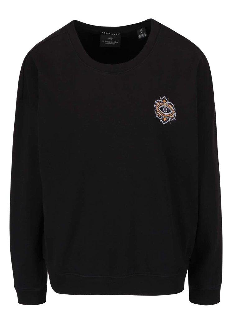 Bluză neagră Maison Scotch cu imprimeu