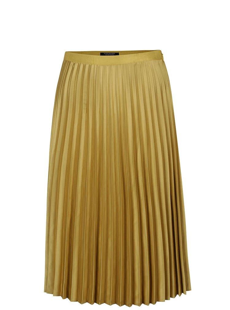 Horčicová plisovaná zamatová sukňa Maison Scotch