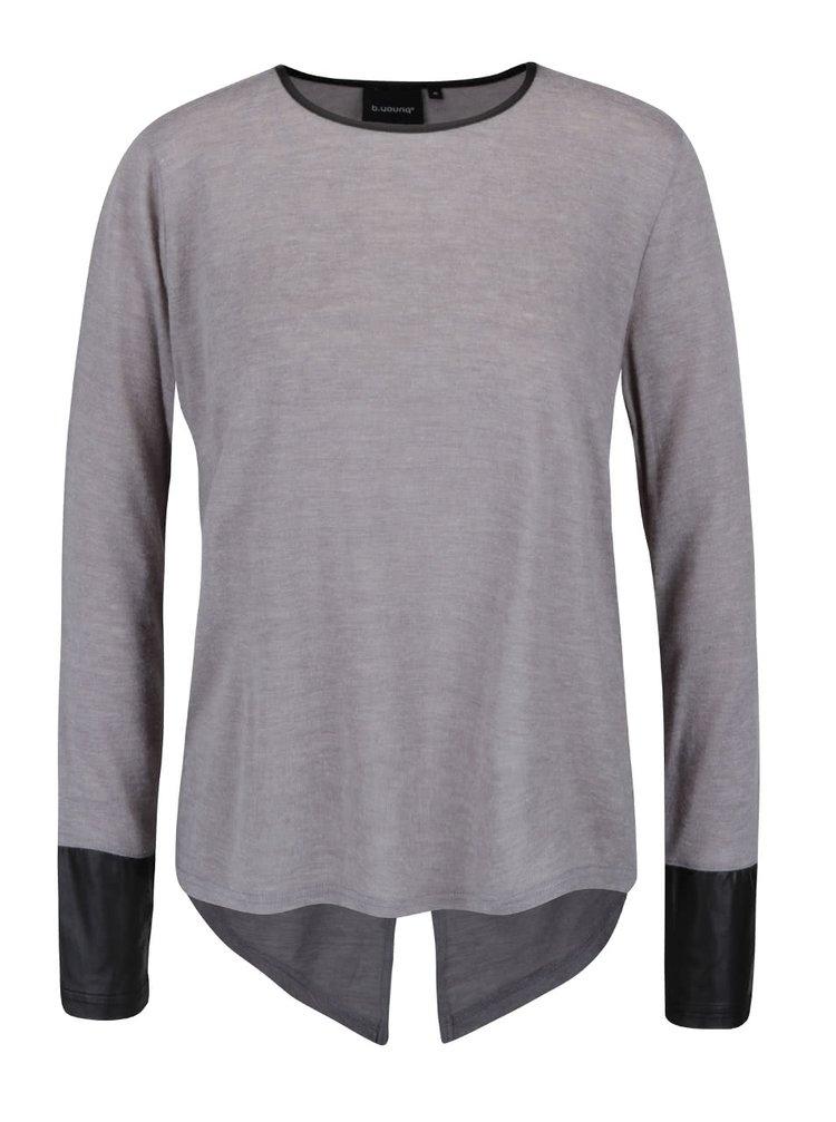 Světle šedé tričko s dlouhým rukávem a koženkovými detaily b.young