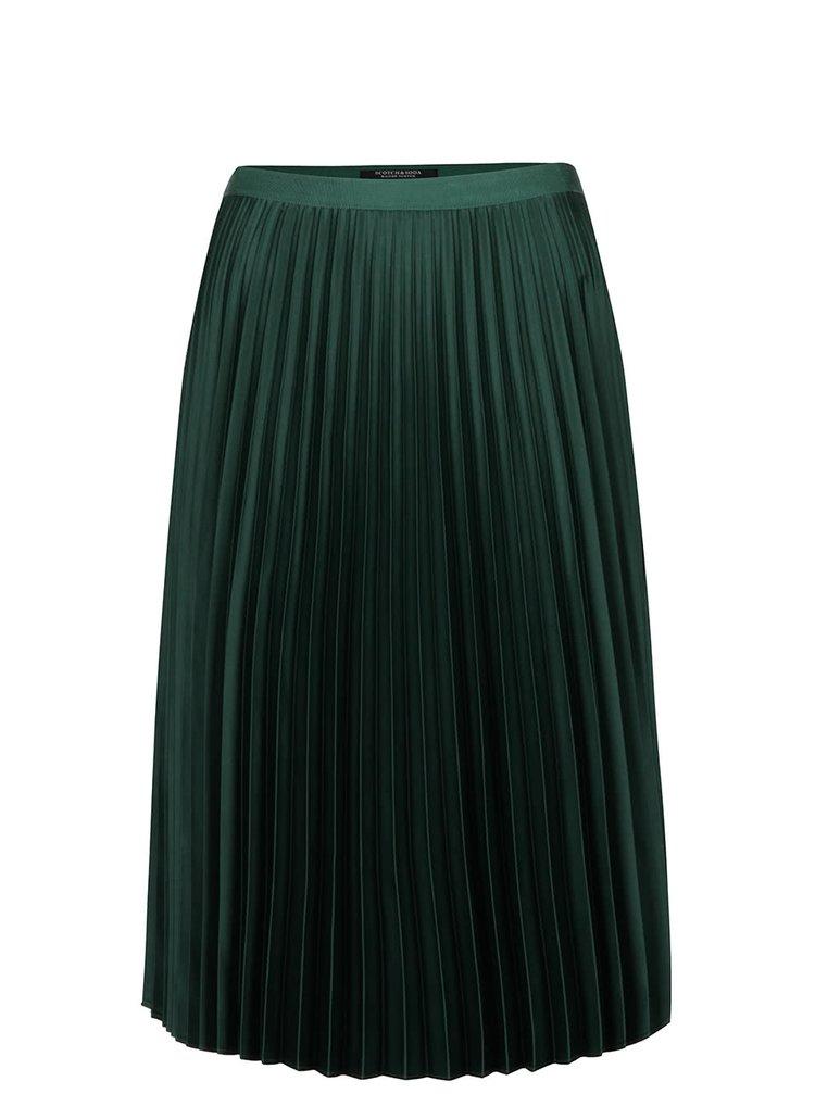 Tmavě zelená plisovaná sametová sukně Maison Scotch