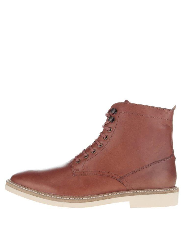 Hnedé kožené šnurovacie členkové topánky Frank Wright Munros