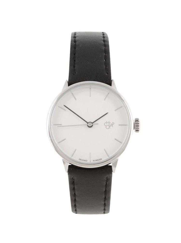 Dámské hodinky ve stříbrné barvě s černým páskem z veganské kůže CHPO Khorshid Mini Silver