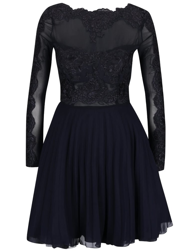 Tmavomodré šaty s čipkou AX Paris