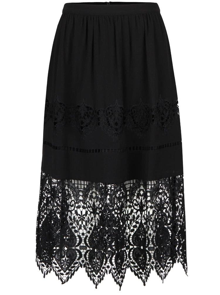 Černá sukně s výraznou krajkou Miss Selfridge