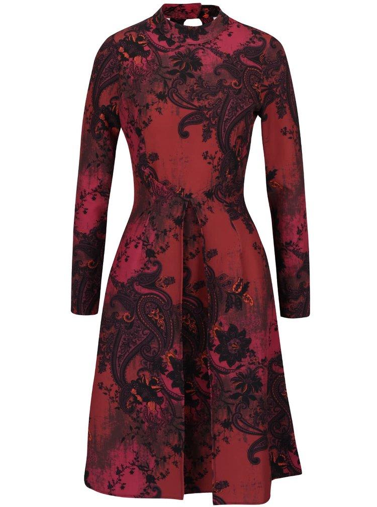 Černo-červené vzorované šaty s dlouhým rukávem Closet