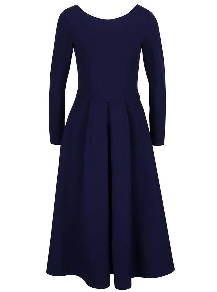 Tmavomodré šaty s dlhým rukávom Closet