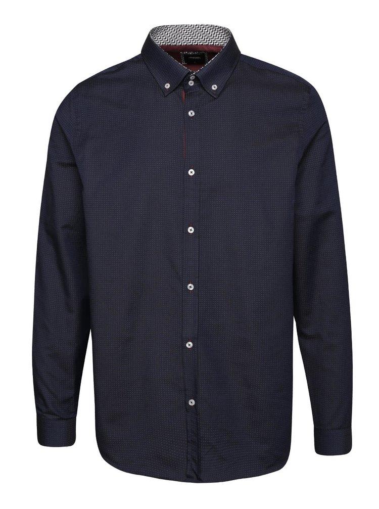 Tmavě modrá košile s jemným vzorem Burton Menswear London
