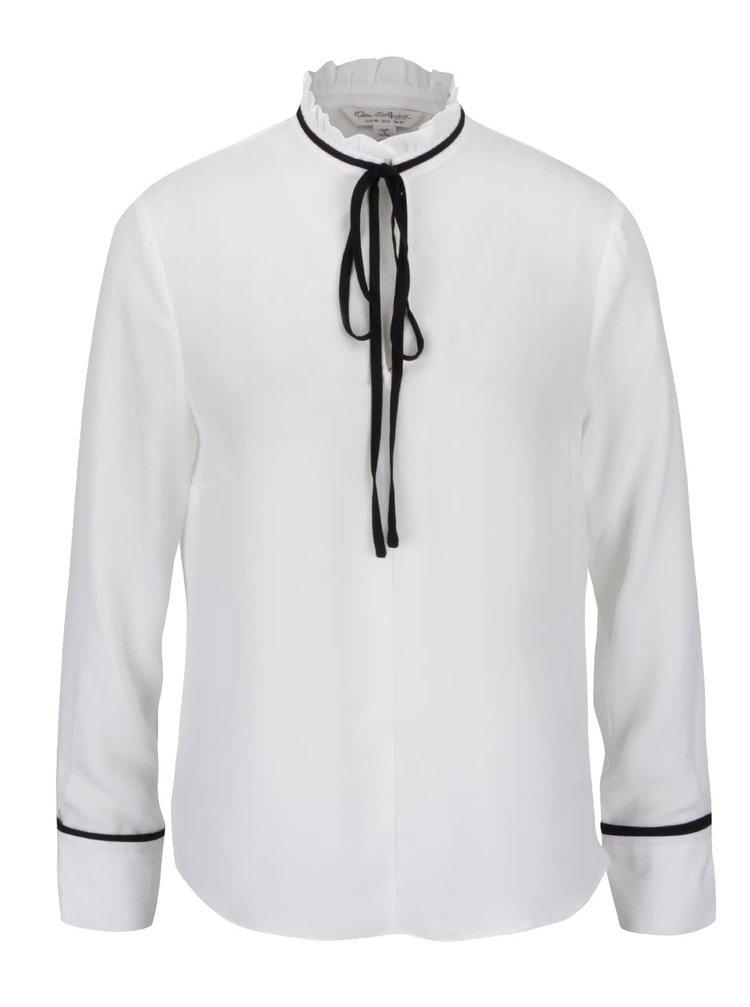 Bluză alb fildeș Miss Selfridge cu panglici și guler la baza gâtului