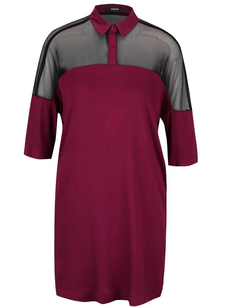 Růžovofialové šaty s průsvitnými detaily Alchymi Joya